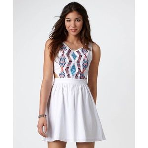 American Eagle Embroidered Tribal Cut Out Dress